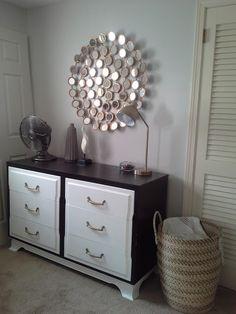 mid century modern dresser stain white paint gold mirror