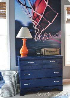 A Colorful Teen Boy Room, like the blue dresser Decor, Room Makeover, Boys Room Decor, Room, Room Design, Bedroom Orange, Bedroom Decor, Basketball Room, Orange Boys Rooms