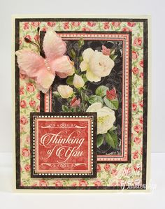 The Stamp Simply Ribbon Store - Graphic 45 Mon Amour - Thinking Of You Card