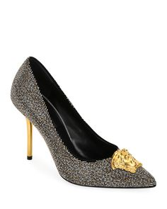 82f9c713380 Medusa Pumps with Microstuds by Versace at Neiman Marcus