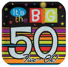 Creative Converting Over The Hill 7 Inch Square Prismatic Paper Plates, The Big 50, 8 Count (Pack of 3) by Creative Converting. $11.44. Package of 8 decorated paper plates read It's the Big 50. You'll find consistent high quality and attention to detail in every Creative Converting product. Luncheon plates are 7-inches square. Printed on prismatic paper for flashy fun. Colorful stripes coordinate with Creative Converting's Birthday Stripe and other Over the Hill party supplie...