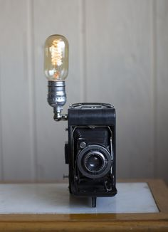 Vintage Camera Lamp with Edison Bulb