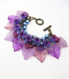 Lucite Fairy Plum Leaf Layer Statement Bracelet