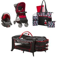 Disney Mickey Mouse Baby Gear Bundle,Stroller Travel System,Play Yard, and Diaper Bag