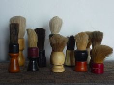 You (WE) can never have too many vintage shaving brushes. Shaving Stand, Shaving Brush, Wet Shaving, Barber Shop Pole, Shaved Hair Cuts, Barbershop Ideas, Masculine Bathroom, Hair Barber, Beard Game
