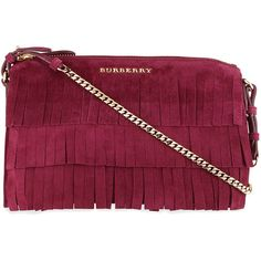 Burberry Peyton Fringed Suede Crossbody Bag (2,600 PEN) ❤ liked on Polyvore featuring bags, handbags, shoulder bags, dark plum, suede fringe purse, red purse, chain shoulder bag, suede fringe handbag and crossbody handbags