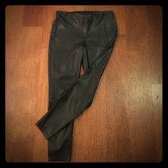 Zara black vegan leather pants w ankle zip Zara black vegan leather pants w ankle zip detail. **Temp price drop  Zara Pants