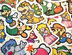 It´s-a set of 19 Paper Mario character stickers. They measure around 50-60 mm, varying on the character depicted.  These stickers are printed on high-quality adhesive paper with prime quality ink, later coated with a protective fixer and then hand-cut (in a smoke-free environment!). Please mind...