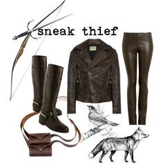 """Hands to yourself, sneak thief!"" by acatlady on Polyvore. Stealthy skyrim outfit"