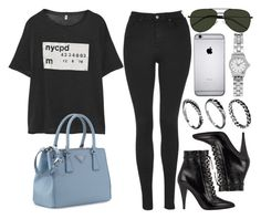 """""""Style #9182"""" by vany-alvarado ❤ liked on Polyvore featuring Topshop, R13, Yves Saint Laurent, Prada, ASOS and DesignSix"""