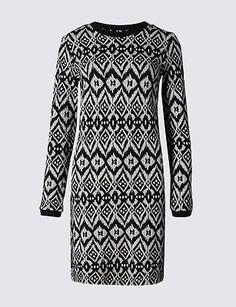 Size 18 M&S COLLECTION Aztec Print Tunic Dress, Black Mix  | eBay