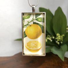 Lemon necklace | Etsy Botanical Illustration, Necklace Lengths, Lemon, Pendants, Pendant Necklace, Drop Earrings, Handmade, Etsy, Vintage