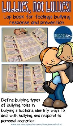 Buddies, not bullies lap book for upper elementary bullying prevention education in school counseling! -Counselor Keri