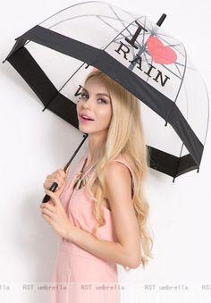 2f932ef281b White Printed Transparent Umbrella  Umbrella  WomensraincoatSize24