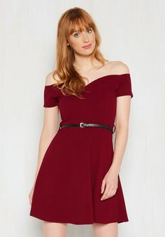 It's Bright Alright Dress in Merlot - Red, Solid, Daytime Party, Pinup, A-line…