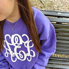 Monogrammed Crewneck Sweatshirt from www.MARLEYLILLY.com!! #monogrammed #monograms #marleylilly