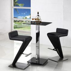 Square Glass Breakfast Bar Table + 2 Z Bar Stools