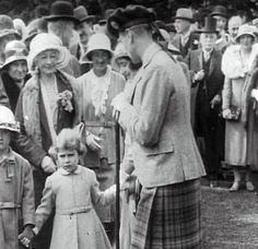 ©British Pathé.The Braemar Highland Games. At age  four Elizabeth was taken by her parents to the Braemar Highland Games where she watched the Tug-of-War and Tossing the Caber, hotly contested events that one day she would award the prizes for. Who could have known then that the Duke and Duchess would become King and Queen, let alone their little daughter Elizabeth in turn.  The Queen still presents the prizes at the Braemar Games, and The Queen Mother continued to do so until her death in…