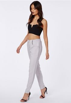 Marianka Zip Front Cigarette Trousers Grey - Trousers - Missguided