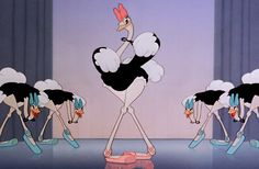 """For both the ostriches and the alligators in the """"Dance of the Hours"""" sequence, and the demons in the """"Night on Bald Mountain"""" sequence, Walt Disney hired the Ballet Russe de Monte Carlo as live-action reference models for the animators. Among the group were famed dancers Irina Baronova, Cyd Charisse, Tamara Toumanova, and Leonide Massine. The scene that features Hyacinth Hippo emerging from the fountain was actually a reference to a famous scene from George Balanchine's Goldwyn Follies…"""