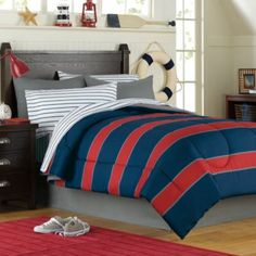 Rugby 6-8 Piece Comforter and Sheet Set - BedBathandBeyond.com  for Boy's baseball theme room