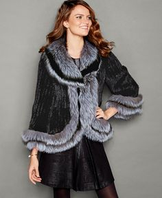 fdb09a164fd The Fur Vault Fox-Fur-Trim Knitted Mink Fur Jacket Black Fur Jacket