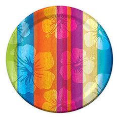 These Aloha Summer Dessert Plates have a vibrant colored design showing hibiscus flowers behind stripes. Plates are sold in packages of eight.
