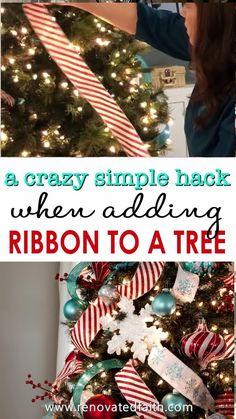 Gold Christmas Decorations, Ribbon On Christmas Tree, Christmas Tree Themes, Christmas Tree Toppers, Christmas Holidays, White Christmas, Ribbon On Tree, Christmas Crafts, Elegant Christmas Trees