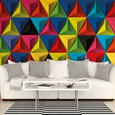 Pyramids of Colour Wallpaper Wall Mural by Ohpopsi, Geometric pyramid shapes Feature Wallpaper Pyramids of Colour is a bold colourful geometric wallpaper of 3d triangles.