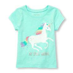 Toddler Girls Short Sleeve Glitter 'My Spirit Animal' Unicorn Graphic Tee | The Children's Place