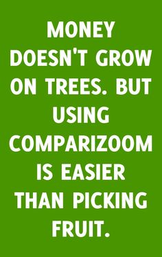 Comparizoom is great reason number 71 on Thursday, January 09, 2014 --- MONEY DOESN'T GROW ON TREES. BUT USING COMPARIZOOM IS EASIER THAN PICKING FRUIT