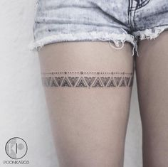 Mayan Pattern Thigh Band Tattoo by poonkaros thigh tattoo 44 Fine Line Black and Grey Tattoos by Poonkaros Trendy Tattoos, Sexy Tattoos, Body Art Tattoos, Small Tattoos, Cool Tattoos, Tatoos, Hand Tattoos, Sleeve Tattoos, Black Tattoos