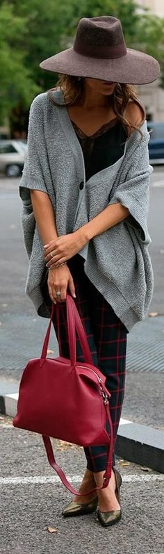 Oversized Cardigan With Hat and Red Handbag