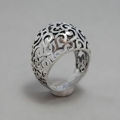 Sterling Silver Filigree Ring -  Handmade Sterling Silver Lace Jewelry - Silver Round Lace Blackened Ring. $75.00, via Etsy.