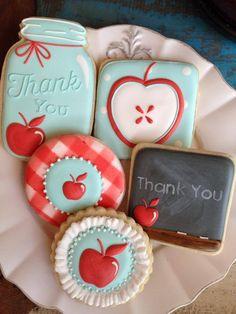 Thank you teacher apple cookies~ Blackboard, Apple, bell jar, Blue, red Apple Cookies, Iced Cookies, Royal Icing Cookies, Cookies Et Biscuits, Sugar Cookies, Thank You Cookies, Fancy Cookies, Cute Cookies, Cupcake Cookies