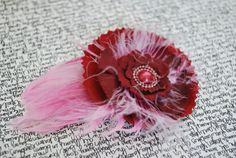 Cranberry Flower with  Pink Feather clip by PeppermintEmporium, $9.00