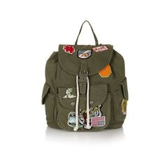 TopShop Badged Denim Backpack ($59) ❤ liked on Polyvore featuring bags, backpacks, khaki, backpacks bags, drawstring bag, khaki backpack, pocket bag and topshop backpack