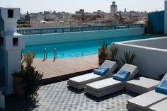 Rooftop pool at Heure Bleue Palais hotel in Essaouira, Morocco. Photograph by Michael Turek.