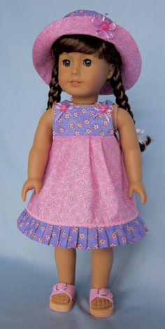 American Girl Dress Sundress and Hat in by SewMyGoodnessShop -- I love the color combination. Ropa American Girl, American Girl Dress, American Girl Crafts, American Doll Clothes, Sewing Doll Clothes, Baby Doll Clothes, Sewing Dolls, American Girl Accessories, Doll Shoes