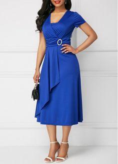 Buy Best Selling Fashion Women's Chic Large Size Asymmetric Hem Evening Dress Mini Dress at Wish - Shopping Made Fun Casual Summer Dresses, Short Sleeve Dresses, Long Dresses, Women's Dresses, Long Midi Dress, Elegant Dresses For Women, Beautiful Dresses, Evening Dresses Plus Size, Royal Blue Dresses