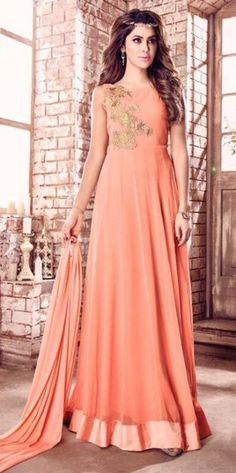 Peach Bridal Wear Floor Touch Anarkali Suit With Embroidered Work