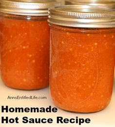 Homemade Hot Sauce Recipe; hot, spicy and tangy! This homemade hot sauce recipe is delicious. It can be used as a condiment, or to add kick to your next recipe. This is a fantastic use of garden peppers. http://www.annsentitledlife.com/recipes/homemade-hot-sauce-recipe/