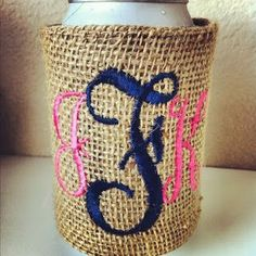 Burlap koozie giveaway from Miss Southern Prep!
