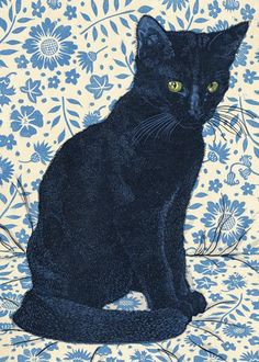 A handsome black cat is centre of attention in this blank fine art greeting card from a linocut print by printmaker Vanessa Lubach. Art Inspo, Art Carte, Art Et Illustration, Pics Art, Crazy Cats, Cat Love, Contemporary Artists, Pet Portraits, Printmaking