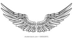 Pair of spread out eagle bird or angel wings Illustration , Eagle Wing Tattoos, Wing Tattoo Men, Wing Tattoo Designs, Chest Tattoo With Wings, Eagle Bird, Eagle Wings, Dragon Tattoos For Men, Tattoos For Guys, Angel Wings Drawing