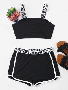 Spring and Summer Letter Flat Elastic High Sleeveless Square Regular Casual Casual and Sports Letter Contrast Trim Shorts Tracksuit Cute Lazy Outfits, Teenage Outfits, Crop Top Outfits, Teen Fashion Outfits, Sporty Outfits, Trendy Outfits, Girl Fashion, Girl Outfits, Tumblr Fashion