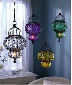 Glass Pendants with LED Tea Lights Decor Hanging Lantern Chandelier *BEST PRICE* picclick.com