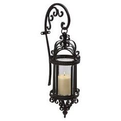 Dempsy Wrought Iron and Glass Hanging Wall Lantern in Black