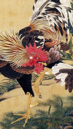 Japanese Tattoo Art, Japanese Painting, Chinese Painting, Chinese Art, Rooster Painting, Rooster Art, Artist Painting, Rooster Tattoo, Japanese Bird
