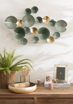 Green and Gold Metal Water Lily Wall Art on Maisons du Monde. Take your pick from our furniture and accessories and be inspired! Hanoi, Forest Bedroom, Interior Decorating, Interior Design, Decoration, Lily, House Design, Wall Art, Inspiration